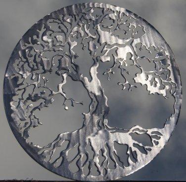 "Tree of Life Metal Wall Art Home Decor 24"" Polished Silver"