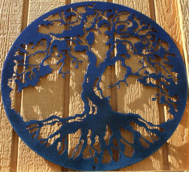 "Tree of Life Metal Wall Art Home Decor 24"" Chameleon Teal"