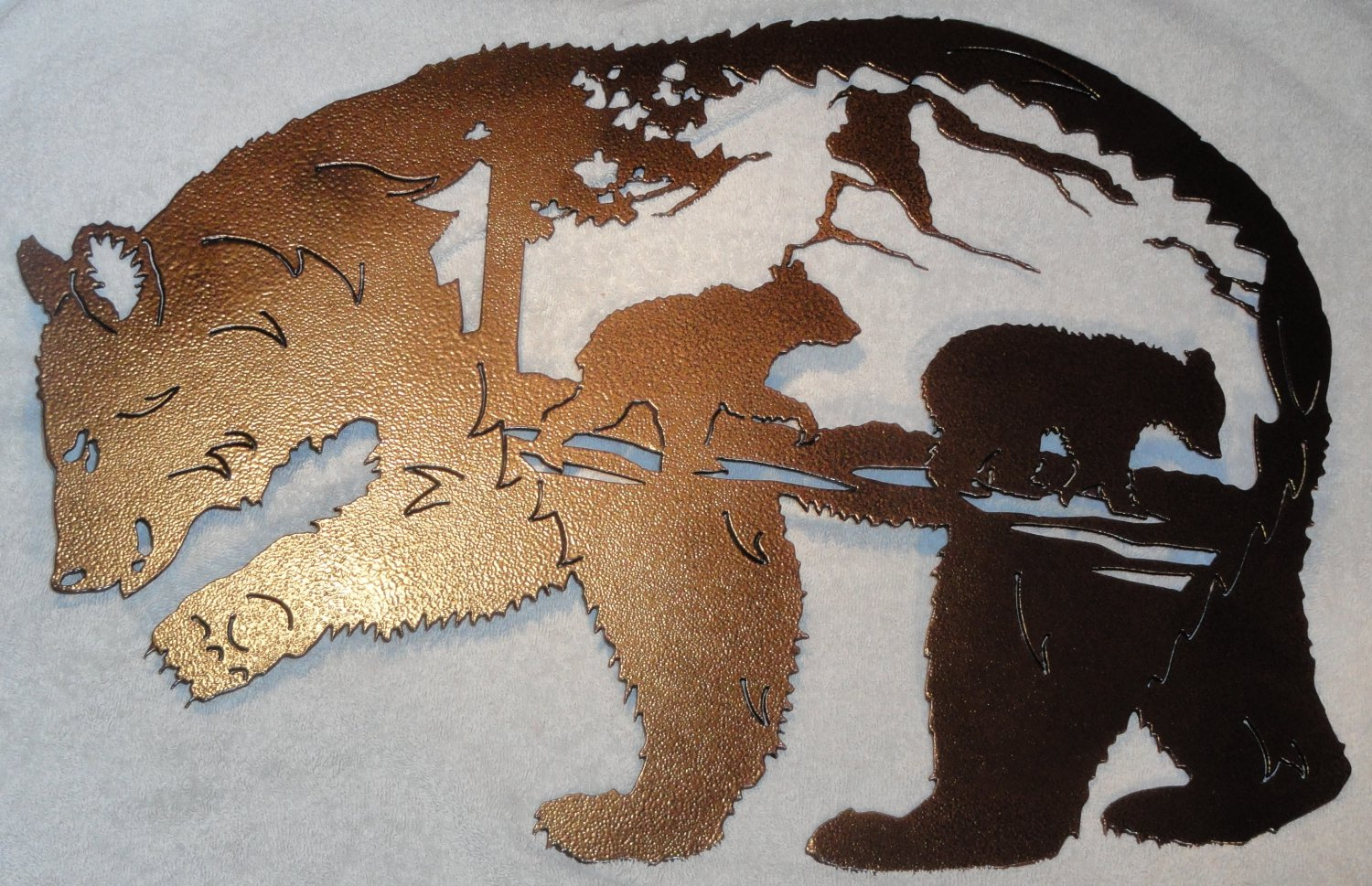 Bear with bear scene metal wall art home decor for Bear home decorations