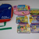 Leap Frog My First LeapPad System Pink Backpack 5 Books 4 Cartridges Lot Dora