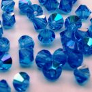 50 Zche bicone beads Capri blue AB 4mm
