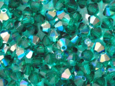 50 Zche bicone beads Emerald green AB 4mm