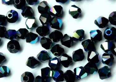 50 Zche bicone beads Jet black AB 4mm