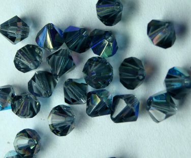 50 Zche bicone beads Montana AB 4mm