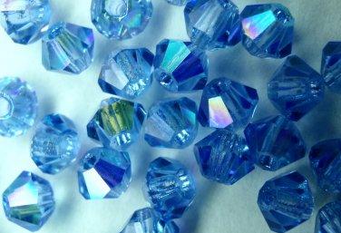 50 bicone beads zche Sapphire AB 4mm