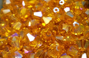 50 bicone beads 6 mm  Topaz AB