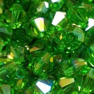50 bicone beads 6 mm Peridot AB