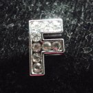 5 pcs Letter F for 8mm sliding bracelet nickel plated with clear rhinestones