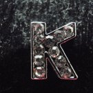 5 pcs Letter K for 8mm sliding bracelet nickel plated with clear rhinestones