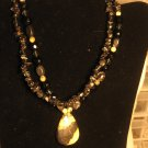 Yellow Turqouise and Black Onyx Two Strand
