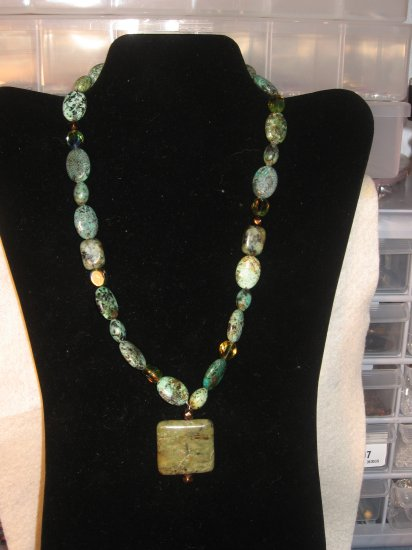 African Turquoise and Amber Crystal Necklace