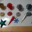 CHRISTMAS/ORNAMENTS/PLASTIC/VINTAGE/40'S-50'S/VARIOUS COLORS/LANTERN-BELL-13 PCS