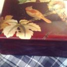 TRINKET BOX OCCUPIED JAPAN/WOOD LAQUERED BOX/VINTAGE/BIRD/LEAF MOTIF/CHERRY WOOD