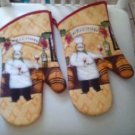 MITT/OVEN MITTS (2) /TOSCANY STYLE WITH CHEF AND WINE & GRAPES WELCOME/NWOT/