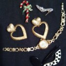 JEWELRY/VINTAGE FASHION JEWELRY LOT/GERRY PIN/WATCH/HEART EARRINGS/MORE