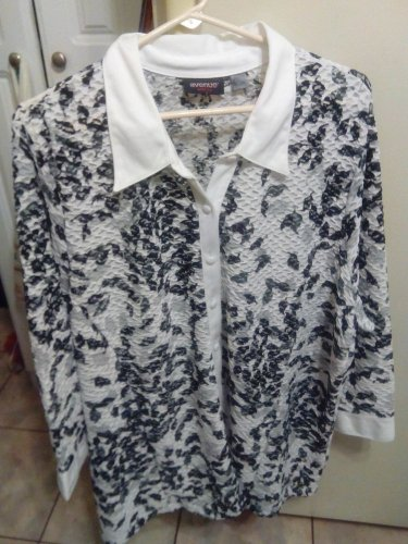 Blouse/TOP/JACKET/SHEER/AVENUE/NWOT/BLACK-WHITE-SHEER/STRETCHY/20-24/WOMEN/WOW!