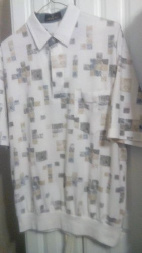 Shirt Men's Cotton Mist Sz. Med. Banded Hem - Cotton Blend Shirt Geometric Print