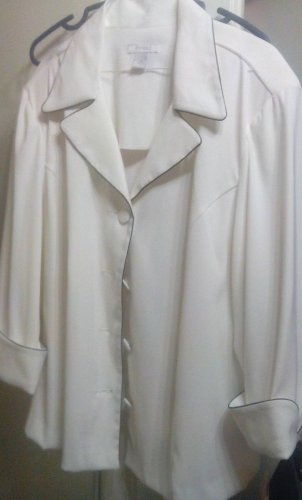 Jacket Woman Dressbarn - White Jacket With Navy Piping 2X  Special Sale Now!