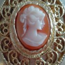 Cameo Vintage Estate Piece Locket Cameo  Gold Tone 30'S-40'S/Pink 2 Oval