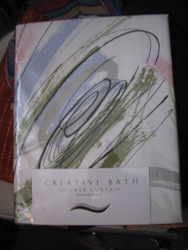 Shower Curtain Fabric Multi on White Fabric 72X72 Creative Bath100% Heavy Cotton