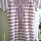 "Blouse Shirt Top ""NO Boundaries"" Striped Heather Lavender & Whte Jr. M. Sexy"