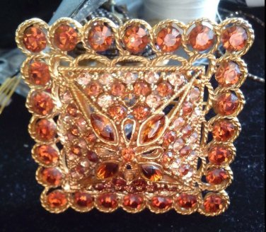Pin Brooch Fabuloous Pin From 50'S-60'S Large Amber Gold Tone Sign - Coro/Nice