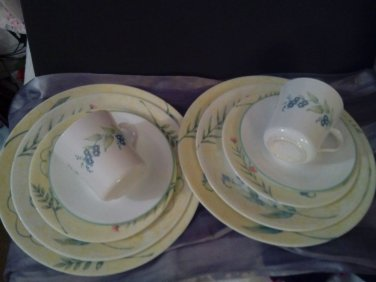 Corelle Corning SUN GARDEN PATTERN YELLOW BAND W/FLOWERS/2-5PC.PL.SETG.-15YR