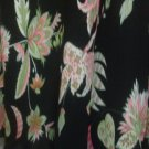 Skirt 18w Fluted Hem Blk with Pink Green Floral Print. Fully Lined. Island Style