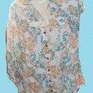 "Blouse BY ""JM Collection"" 18W 100% Linen Blouse White Floral Multi Color Pastels"