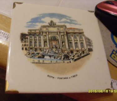Hot Plate Wall Plaque Fountain Of Trevi Italy Vintage Collectible - Trivet Tile