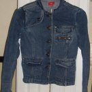 "Denim Military Inspired Jeans Jacket sm.""STEAMPUNK"" Jacket Dark Wash Good Weight"