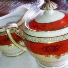 Noritake  Sugar - Creamer Sugar Bowl Orange Cream Gold Japan Noritake China