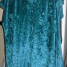 LOUNGE WEAR PAJAMA TOP CRUSHED VELVETY VINTAGE TEAL GREEN  1XL? CAP SLEEVE
