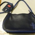 HANDBAG PURSE SHOULDER BAG STYLE ROLF'S GENUINE LEATHER CROSS ON FRONT NEW BLUE