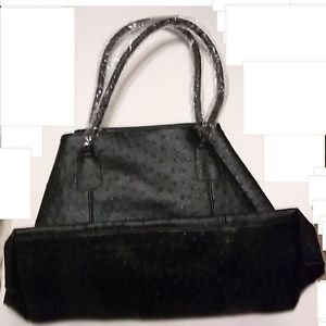 SHOPPING BAG TOTE TRAVEL TOTE BLACK NUBBY LARGE VINYL PURSE POCKETBOOK TOTE NEW