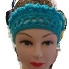 "BEANIE MESSY BUN PONY TAIL HAT CROCHET TEAL/TURQ. 18"" HAT OPEN WORK HAND CROCHET"