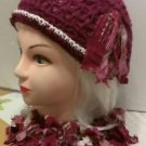 HAT& Scarf Set - WINE COLOR WITH OFF WHITE METALLIC. LARGE. TATTERS N' RAGS SET