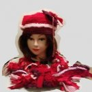 HAT & SCARF SET CROCHET HAND MADE ORIGINAL WINE PINK  RED TATTERS N' RAGS STYLE