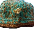 "CROCHET MESSY BUN PONY TAIL HAT BEANIE GOLD 16"" CHILDREN SMALL HAND CROCHET"