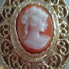 "Cameo Locket Cameo Vintage Gold Tone 30'S-40'S/Pink 2 "" Oval Cameo Pendant"
