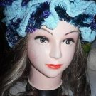 Hat Scarf - Hand Crocheted SEAFOAM AQUA & PURPLE BLUE BLACK EYELASH YARN NEW