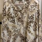 BLOUSE TOP PLUS SIZE 18 CREAM.BEIGE.BROWN ANIMAL PRINT ALFRED DUNNER  BLOUSE