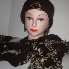 HAT& Scarf Set - DARK BROWN + ANIMAL PRINT HAND MADE CROCHET TATTERS N' RAGS SET