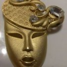 PENDENT PIN BROOCH WOMAN'S HEAD WITH HAT GOLD TONE WITH CLEAR STONES ESTATE PC.