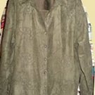 "Blouse Shirt ""SAG HARBOR"" XL LODEN GREEN FAUX SUEDE WITH FABULOUS STITCHING"