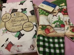 KITCHEN, 4 KITCHEN-BAR TOWELS- AND OVEN MITT. CHUBBY TUSCAN ITALIAN CHEF. BUNDLE