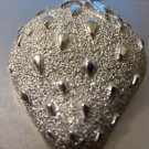 """Pin Brooch Strawberry Vintage Silver Tone """"Sarah Coventry"""" 2"""" x 1 1/2"""" 60-70's"""