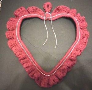 VALENTINE HEART WALL DOOR HANG  DECOR BURGUNDY PINK BEADING APPROX. 14X16