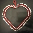 VALENTINE HEART WALL DOOR HANG  DECOR BURGUNDY OFF WHITE HANDMADE APPROX. 14X16
