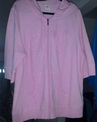 """JACKET HOODY COVER UP PEACH """"FADED GLORY"""" 3X-22/24 POUCH POCKETS ZIP FRONT"""